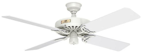 "Casablanca 23845 Hunter Original- 52"" White ETL Damp 23845 FAN"