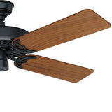 "Casablanca 23863 Hunter Original- 52"" Black with Teak Blades ETL Damp 23863 FAN"