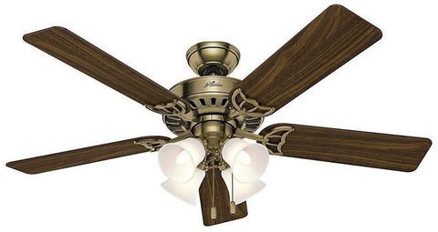 "Casablanca 53063 The Studio Series® - 52"" Antique Brass Four Light Kit 53063 FAN"