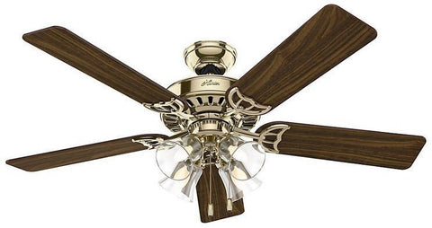 "Casablanca 53066 The Studio Series® - 52"" Hunter Bright Brass Finish® Four Light Kit 53066 FAN"