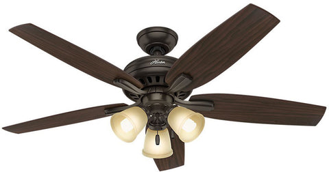 "Casablanca 53317 Newsome Collection - 52"" Premier Bronze Three Light Kit 53317 FAN"