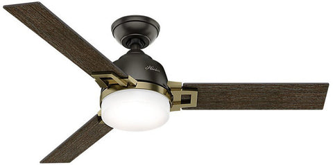 "Casablanca 59220 Leoni - 48"" Noble Bronze + Modern Brass 59220 FAN"