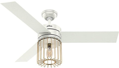 "Casablanca 59238 Ronan - 52"" Fresh White + Modern Brass 59238 FAN"