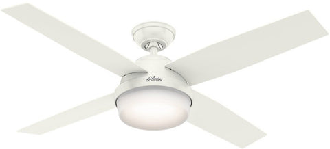 "Casablanca 59252 Dempsey Collection - 52"" Fresh White Integrated Light Kit ETL Damp 59252 FAN"