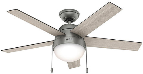 "Casablanca 59267 Anslee Collection - 46"" Matte Silver Integrated Light Kit 59267 FAN"