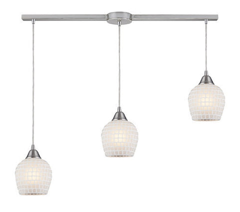 ELK Lighting 528-3L-Wht Three Light Linear Pendant In Satin Nickel And White Mosaic Glass - PeazzLighting