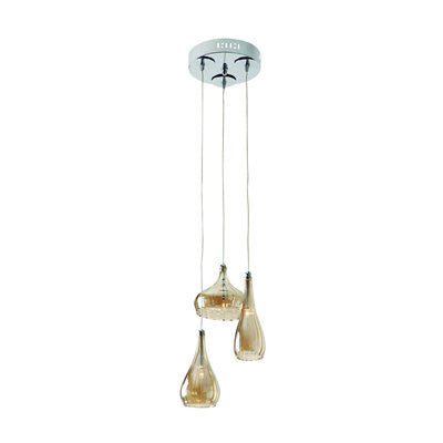 Gen-Lite 104940 Chrome Pendant With 3 Champagne Ribbon Glass - PeazzLighting