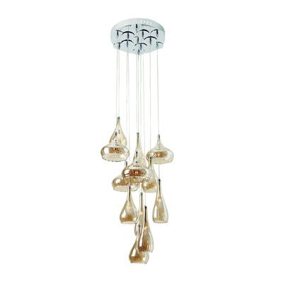 Gen-Lite 104937 Chrome Pendant With 12 Champagne Ribbon Glass - PeazzLighting