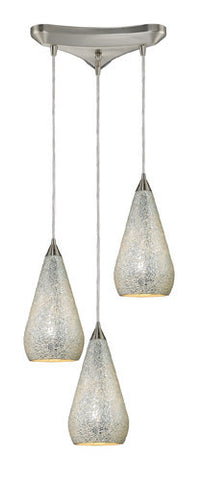 ELK Lighting 546-3Slv-Crc Three Light Pendant In Satin Nickel With Silver Crackle - PeazzLighting
