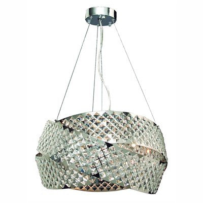 GEN-LITE 104392 Eight Light Chrome Pendant With Crystals