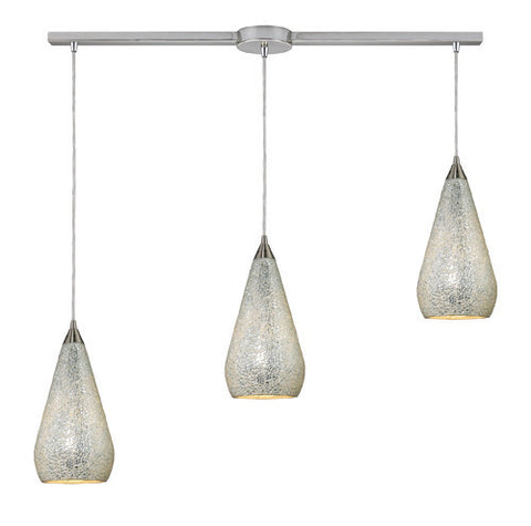 ELK Lighting 546-3L-Slv-Crc Three Light Linear Pendant In Satin Nickel With Silver Crackle - PeazzLighting