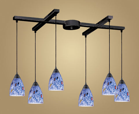 ELK Lighting 406-6Bl Six Light Pendant In Dark Rust And Starlight Blue Glass - PeazzLighting