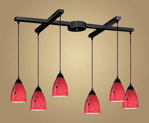 ELK Lighting 406-6Fr Six Light Pendant In Dark Rust And Fire Red Glass - PeazzLighting