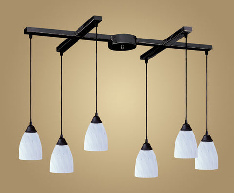 ELK Lighting 406-6Wh Six Light Pendant In Dark Rust And Simply White Glass - PeazzLighting