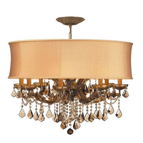 Crystorama Brentwood Chandelier Draped in Golden Teak Strass Crystal Accented with a Harvest Gold Silk Shade 8 Lights - Antique Brass - 4489-AB-SHG-GTS - PeazzLighting