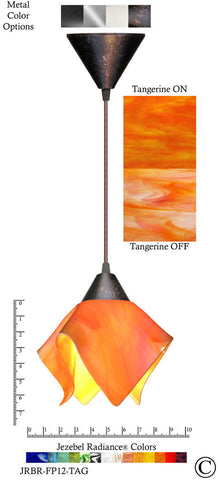 Jezebel Radiance Flame Pendant Small - Hardware Brown - Glass Tangerine Orange - PeazzLighting
