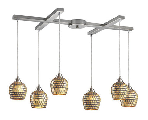 ELK Lighting 528-6Gld Six Light Pendant In Satin Nickel And Gold Mosaic Glass - PeazzLighting