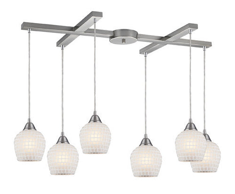 ELK Lighting 528-6Wht Six Light Pendant In Satin Nickel And Copper White Glass - PeazzLighting