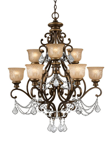 Crystorama Clear Swarovski Spectra Crystal Draped on a Wrought Iron Chandelier Handpainted with a Amber Glass Pattern 6 Lights - Bronze Umber - 7509-BU-CL-SAQ - PeazzLighting