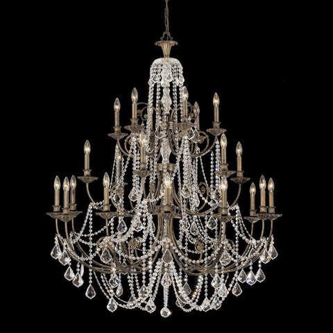 Crystorama Clear Swarovski Elements Crystal Wrought Iron Chandelier 12 Lights - English Bronze - 5120-EB-CL-S - PeazzLighting