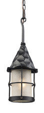 Landmark 388-BK Rustica One Light Outdoor Pendant in Matte Black with Scavo Glass - PeazzLighting