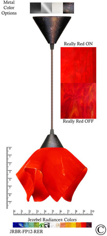 Jezebel Radiance Flame Pendant Small - Hardware Brown - Glass Really Cherry Red - PeazzLighting