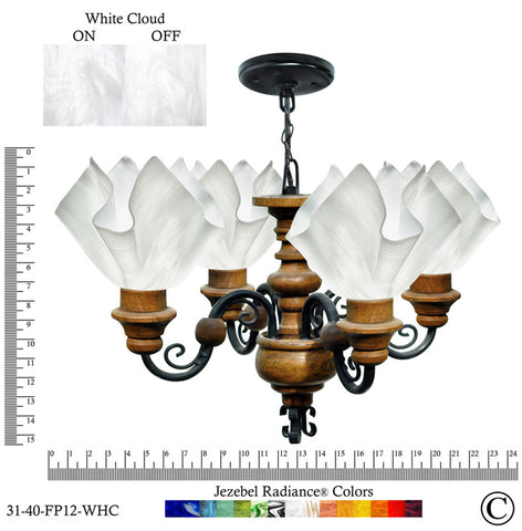 Jezebel Radiance® Flame Vineyard Chandelier. Glass: White Cloud - PeazzLighting