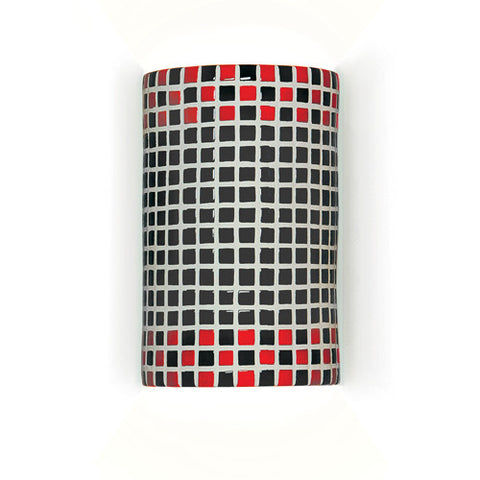 A19 M20309-RB Checkers Wall Sconce Red and Black - PeazzLighting