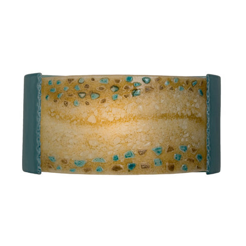 A19 RE108-TC-MAB  Ebb and Flow Wall Sconce Teal Crackle and Multi Amber - PeazzLighting