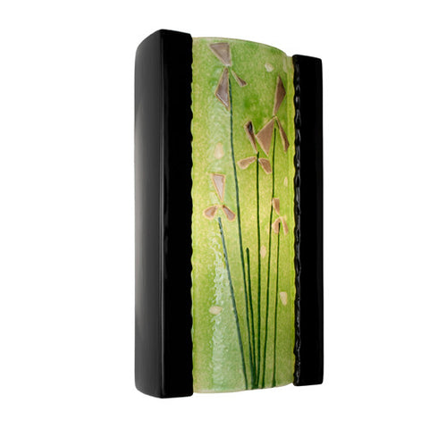 A19 RE101-BG-MLM  Meadow Wall Sconce Black Gloss and Multi Lime - PeazzLighting