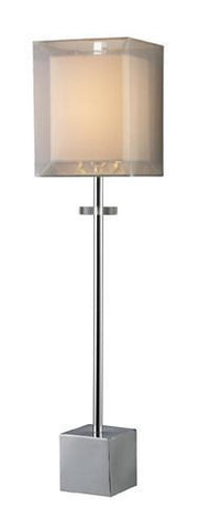 Dimond D1408 Sligo Buffet Lamp In Chrome With Silver Organza Outer Shade And White Inner Shade - PeazzLighting