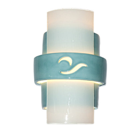 A19 RE121-TC-WF  South Beach Wall Sconce Teal Crackle and White Frost - PeazzLighting