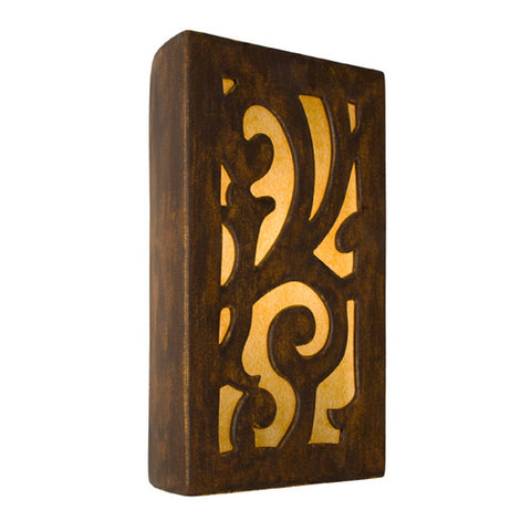 A19 RE112-BT-AB  Cathedral Wall Sconce Butternut and Amber - PeazzLighting
