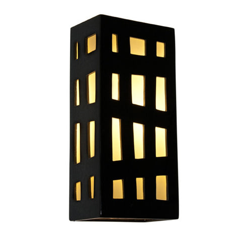 A19 RE110-BG-WF  Grid Wall Sconce Black Gloss and White Frost - PeazzLighting