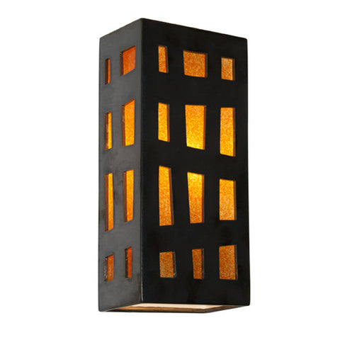 A19 RE110-GM-TG  Grid Wall Sconce Gunmetal and Tangelo - PeazzLighting