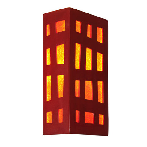 A19 RE110-MR-FR  Grid Wall Sconce Matador Red and Fire - PeazzLighting