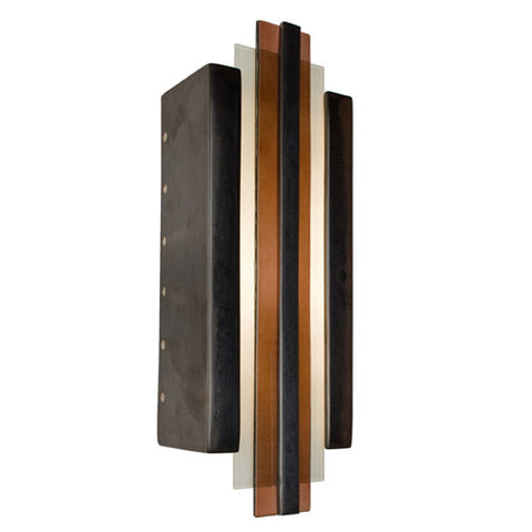 A19 RE113-GM-RW Empire Wall Sconce Gunmetal and Rosewood - PeazzLighting