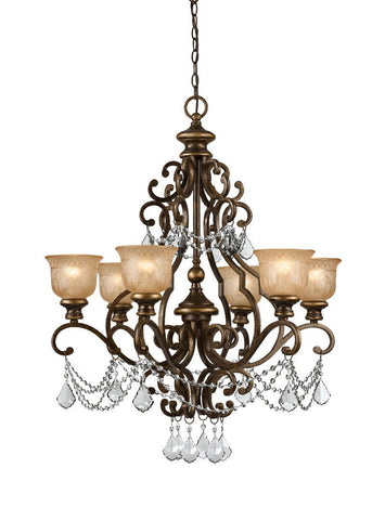 Crystorama Clear Swarovski Spectra Crystal Draped on a Wrought Iron Chandelier Handpainted with a Amber Glass Pattern 6 Lights - Bronze Umber - 7516-BU-CL-SAQ - PeazzLighting
