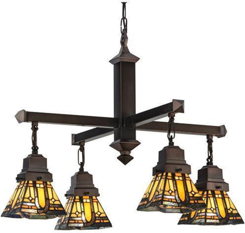 "Meyda Tiffany 153607 25.5""W Sierra Prairie Mission 4 Lt Chandelier - PeazzLighting"