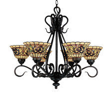 Landmark Lighting 366-VA Tiffany Buckingham Six Light Chandelier in Vintage Antique with Tiffany Style Glass - PeazzLighting