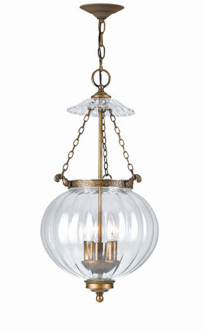 Crystorama 5783-AB 3-Lights Ornate Hanging Fixture With Mellon Jars - Antique Brass - PeazzLighting