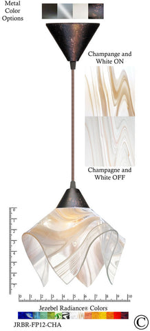 Jezebel Radiance Flame Pendant Small - Hardware Brown - Glass Champagne, Beige & White - PeazzLighting