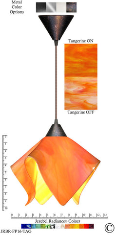 Jezebel Radiance Flame Pendant Large - Hardware Brown - Glass Tangerine Orange - PeazzLighting