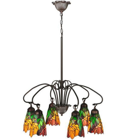 "Meyda Tiffany 104887 26""W Iris 6 Lt Chandelier - PeazzLighting"