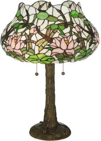 "Meyda Tiffany 125091 22.5""H Dragonfly Flower Table Lamp - PeazzLighting"