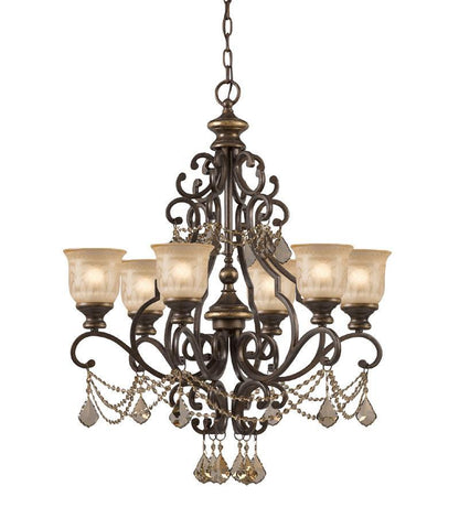 Crystorama Golden Teak Strass Crystal Draped on a Wrought Iron Chandelier Handpainted with a Amber Glass Pattern 6 Lights - Bronze Umber - 7516-BU-GTS - PeazzLighting