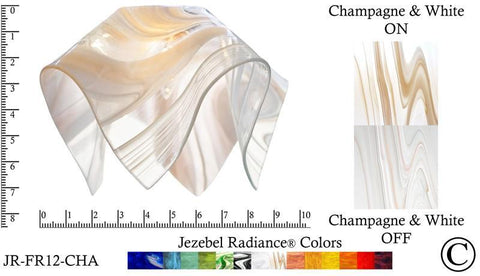 "Jezebel Radiance® Small Flame Champagne and White Glass Pendant/Ceiling Fan Light Replacement Glass Shade, 1 5/8"" hole - PeazzLighting"