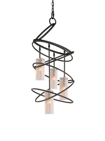 Woodbridge Lighting Loop 4-light Black Chandelier and Seedy Plated Amber Glass - PeazzLighting