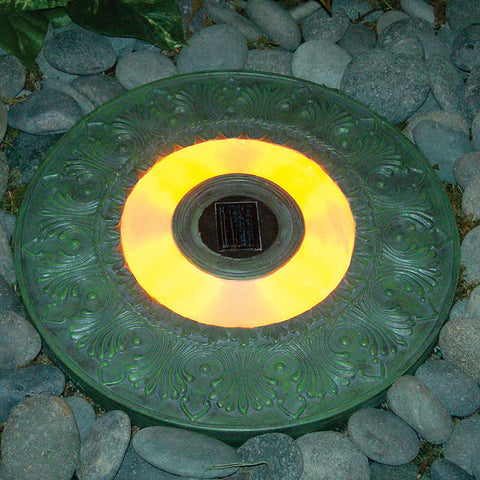 "HomeBrite 30844 13"" Solar Stepping Stone - Round Garden Green Color - Set of 3 - PeazzLighting"