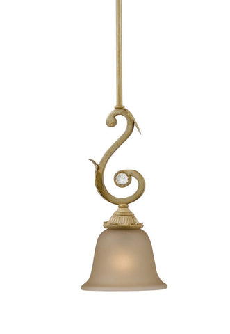 Crystorama 6701-CM 1-Lights Champagne Glass Wrought Iron Pendant - Champagne - PeazzLighting